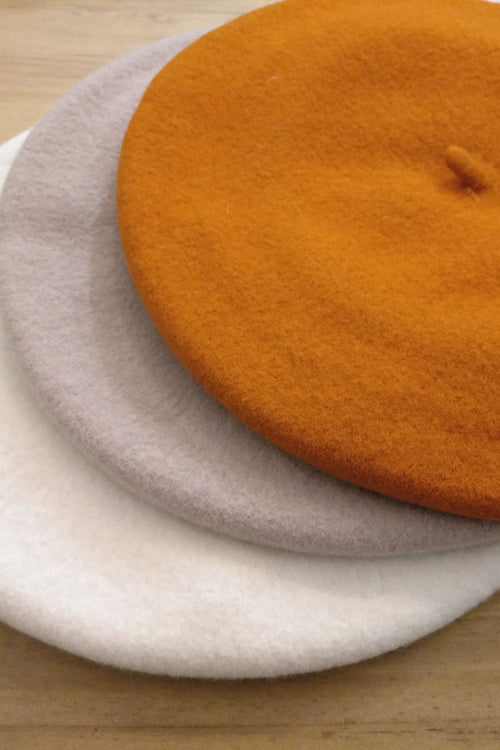 Orange Merino Wool Elosegui Beret