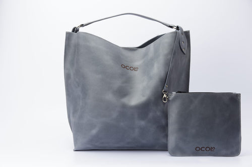 Grey Tote Leather Bag