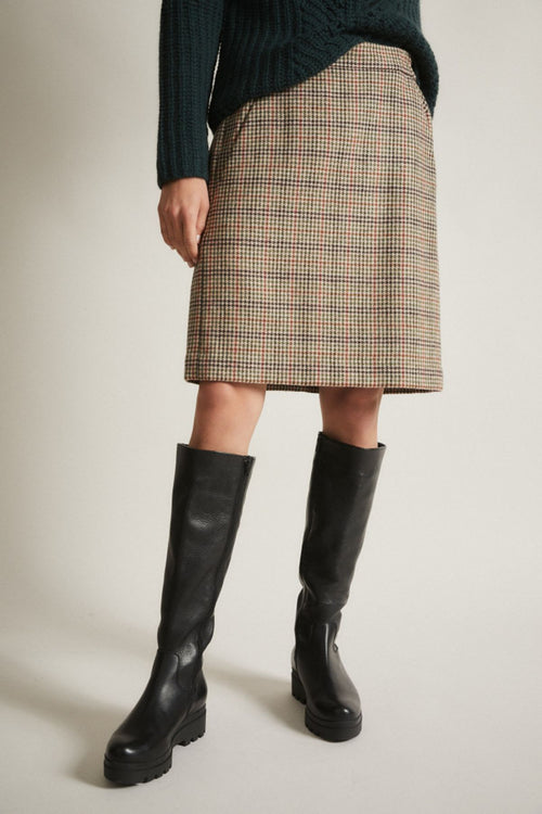 Merino Wool Glen Check Skirt Lanius