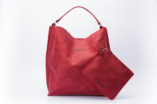 Red Tote Leather Bag