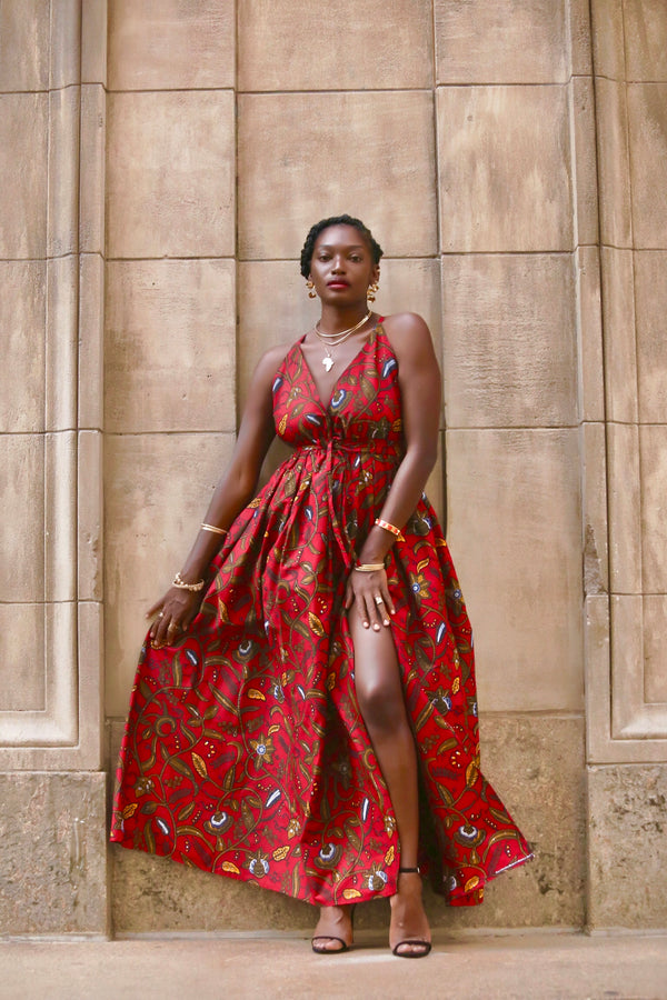 African Print Zounia (Hot-Red) Maxi Dress
