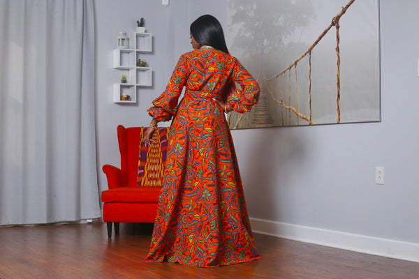 African Print Aicha (Orange) Maxi Dress