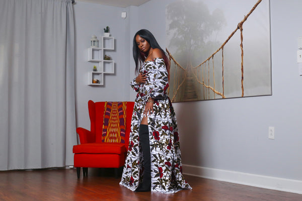 African Print Phanie (White) Maxi Dress