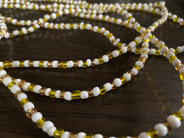 Manu (white & yellow) waist beads