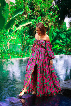African Print Phanie (Hot-Pink) Maxi Dress