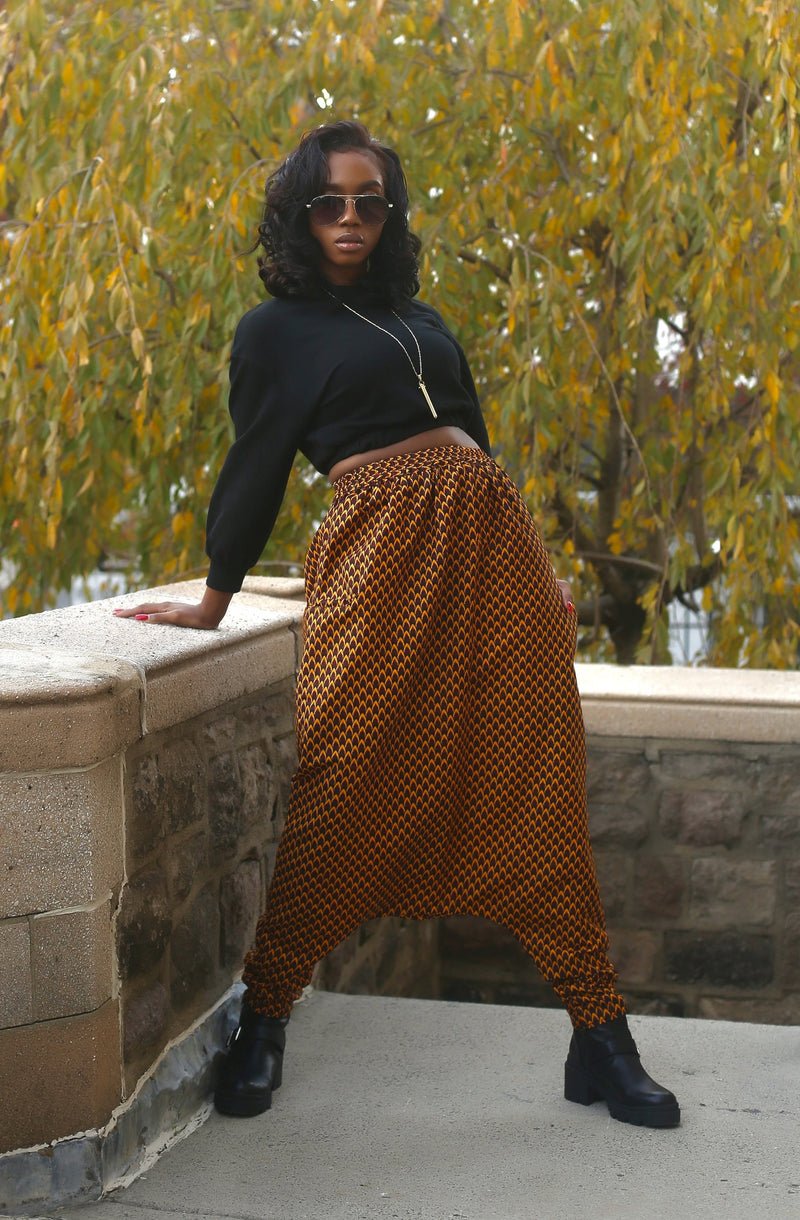 African Print Mourouba (Brown) Pants-Slim