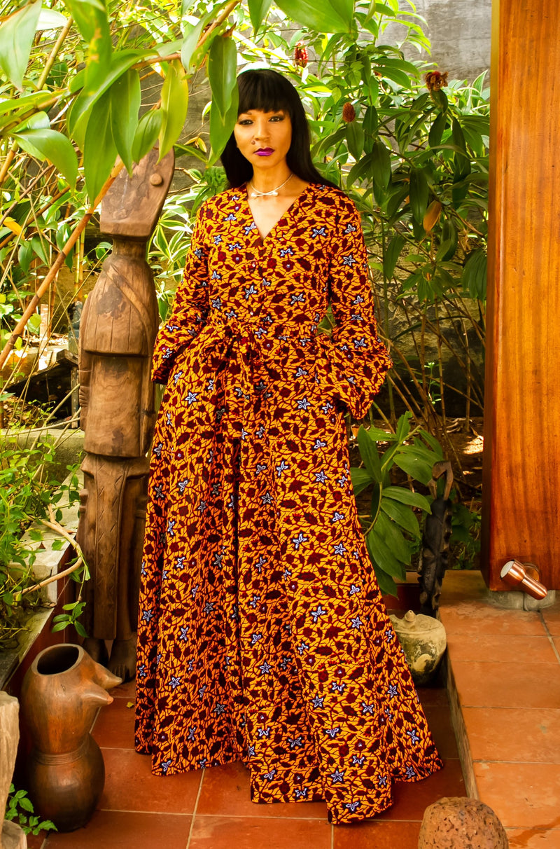 African Print Aicha (Gold) Maxi Dress