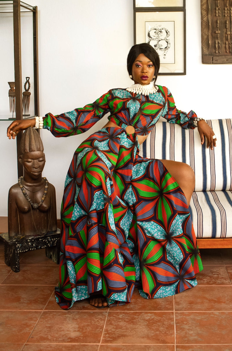 African Print Coumba (Green) Maxi Dress