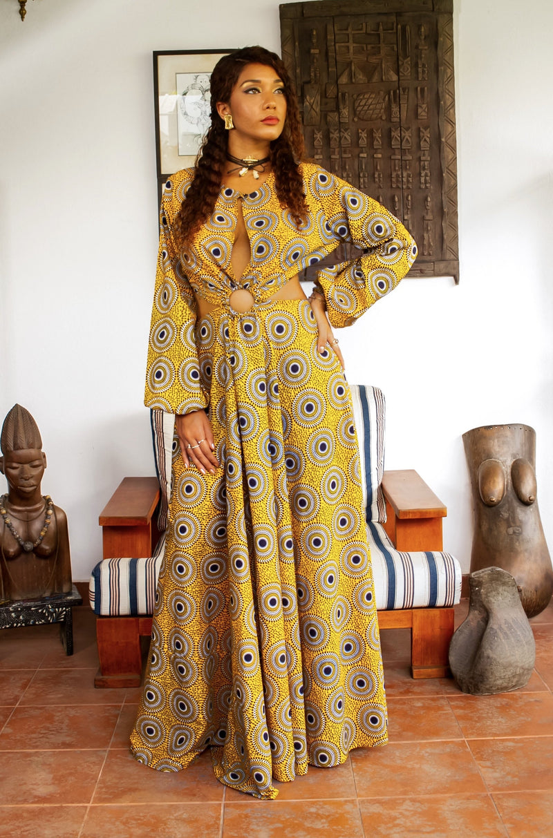 African Print Coumba (Yellow) Maxi Dress