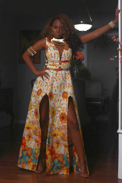 African Print Alima (Flowery) Maxi dress