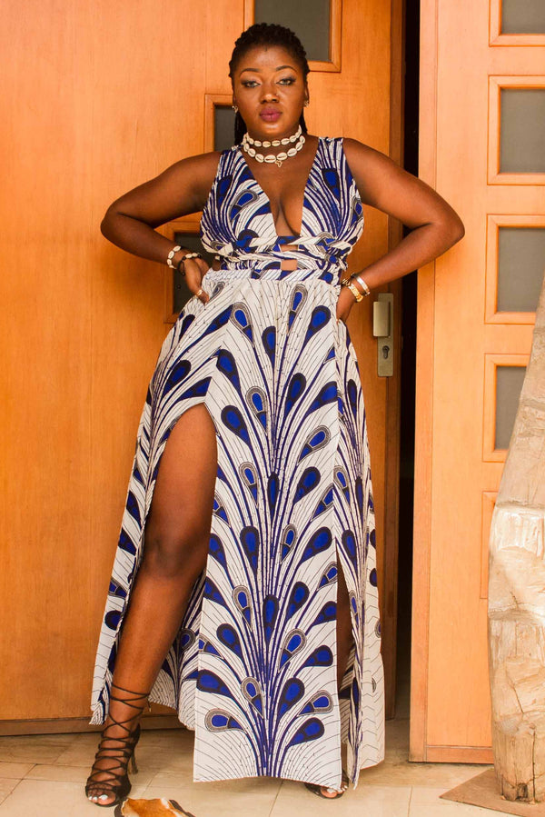 African Print Alima (peacock) Maxi dress