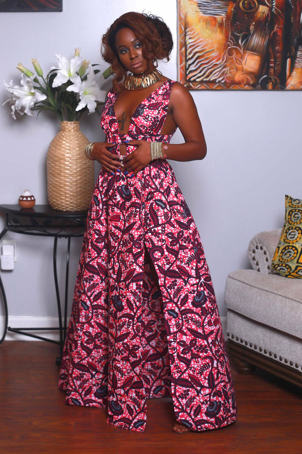 African Print Yasmine (Candy Pink) Maxi dress