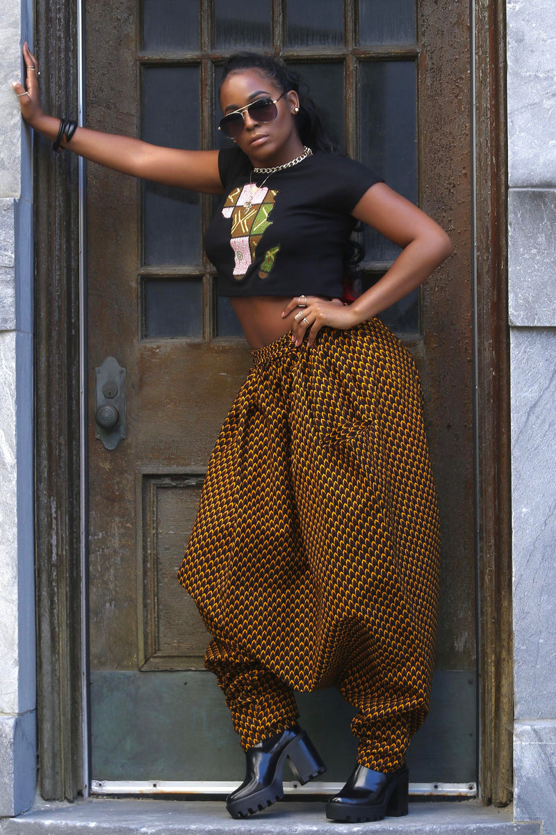 African Print Mourouba (Brown) Pants-Baggy
