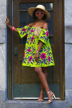 African Print Simba (Lime Green) Dress