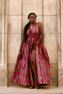 African Print Zounia (Hot-Pink) Maxi Dress