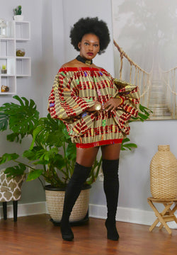 African Print Nanou (Gold) Dress