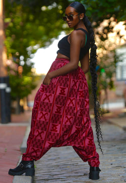 African Print Mourouba (Red) Pants - Baggy