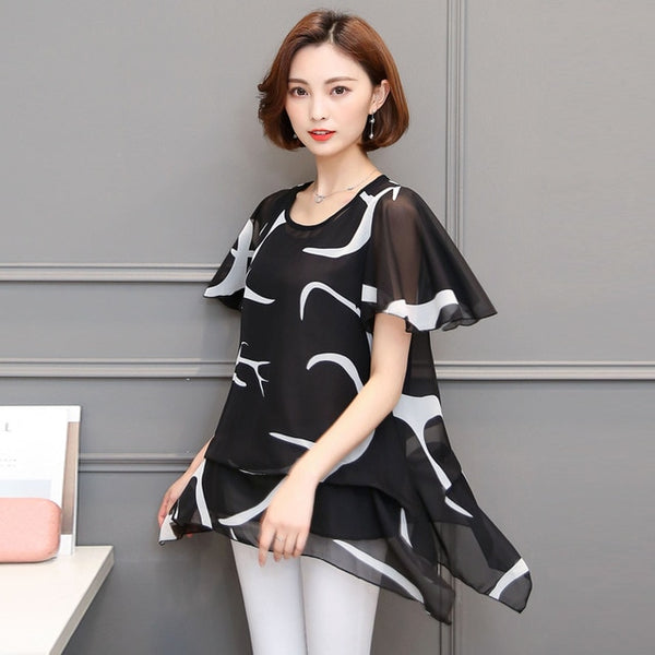 5XL Women Blouses 2019 Casual Summer  Loose Elegant Chiffon Blouse Short Sleeve Women Tops Plus Size Women Clothing Blusas 18J3 - Corona-Transgender
