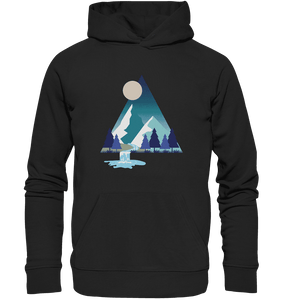 Mountains and River Night - Organic Hoodie