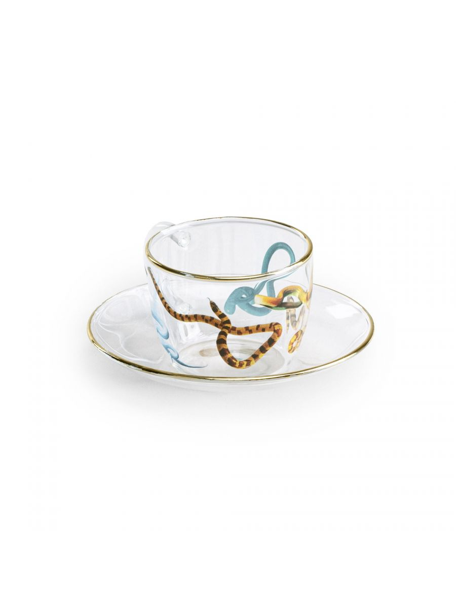 Toiletpaper (Maurizio Cattelan x Pierpaolo Ferrari) - Glass Coffee Cup & Saucer