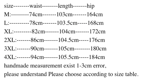 Measurement chart for wide leg cargo pants