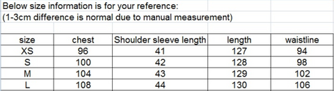 Full doll dress measurement chart