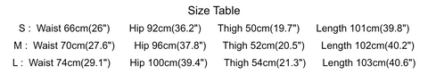 Plain pants measurement chart
