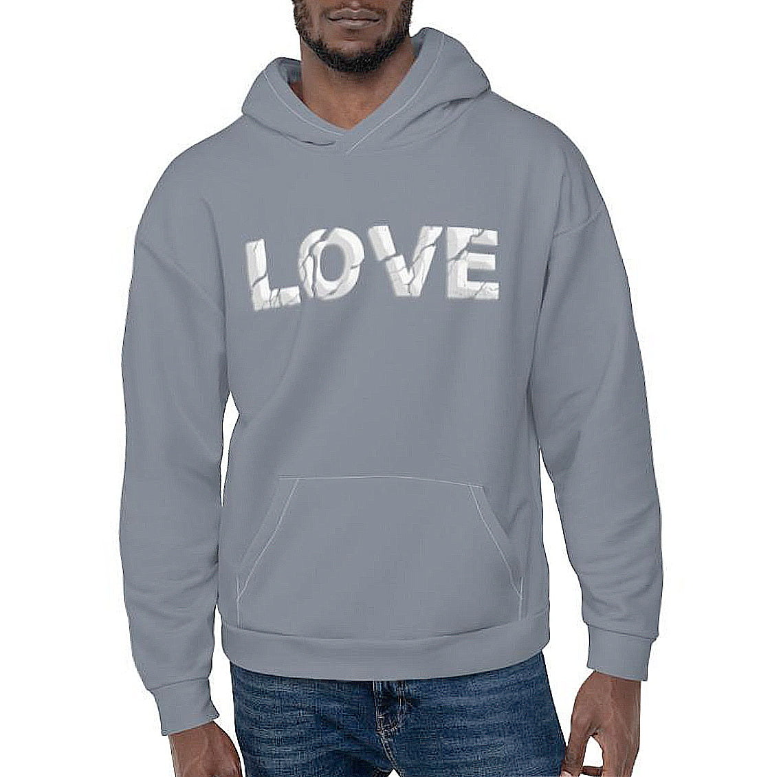 LOVE ERODED 3D PRINT HOODIE - CLOUDY BLUE