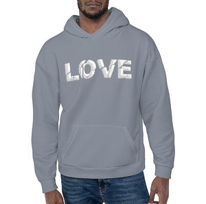 Open image in slideshow, LOVE ERODED 3D PRINT HOODIE - CLOUDY BLUE