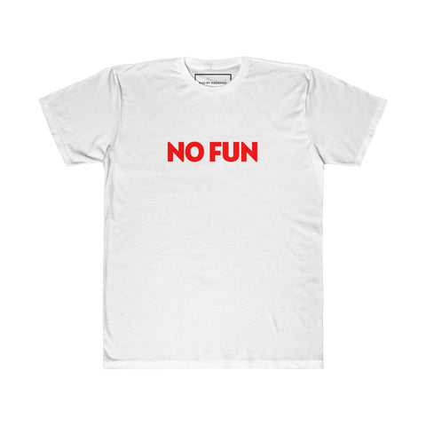 NO FUN UNISEX FITTED TEE - WHITE/ ASH BLACK/ GREY HEATHER