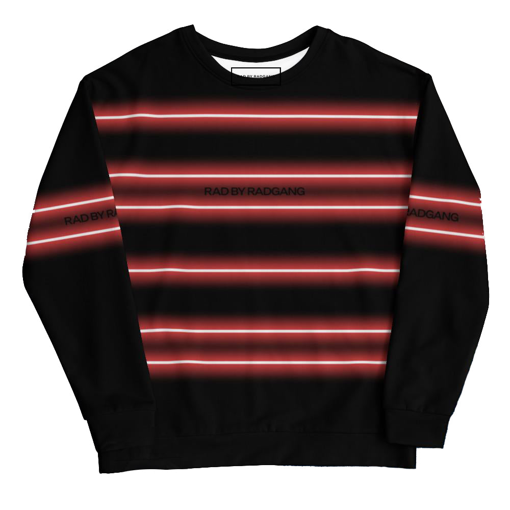 NEON LIGHT STRIPED SWEATSHIRT - BLACK - RED