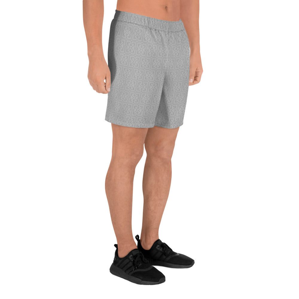 HIDDEN MONOGRAM SPORT SHORTS - LIGHT GREY