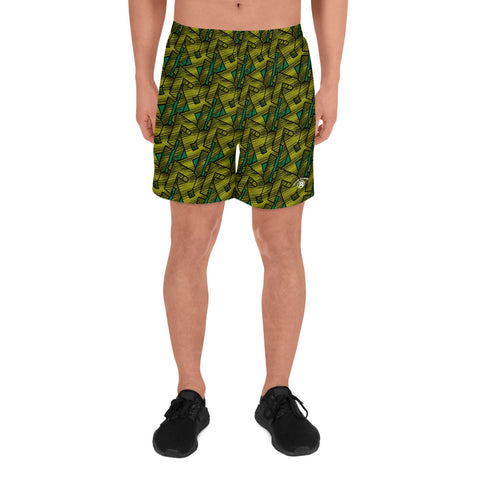 CONTRAST MONOGRAM SPORT SHORTS - FOREST GREEN