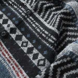 GEOMETRIC OVERSHIRT IN WOOL FLANNEL - GREY-BLUE