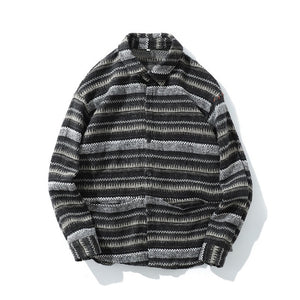 STRIPED OVERSHIRT IN WOOL FLANNEL - GREY