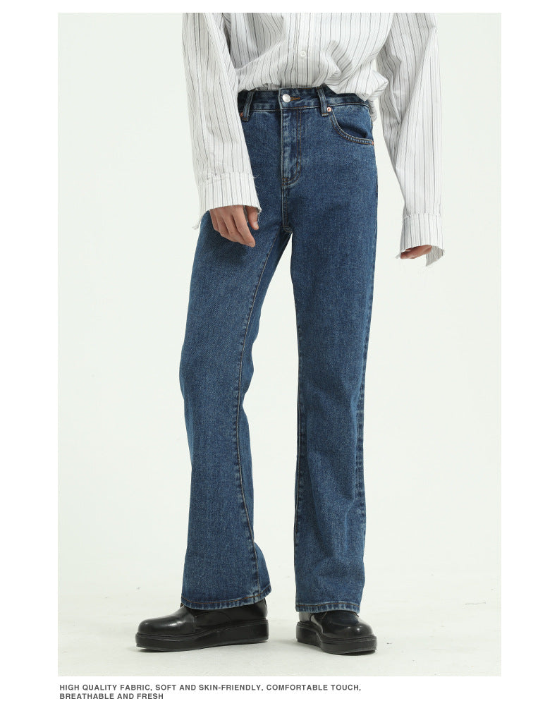 SLIM FIT HIGH WAIST 70s FLARED JEANS - WASHED BLUE/ DEEP BLUE/ DARK GRAY