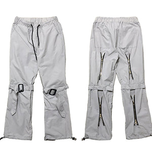 BUCKLED ZIP-OFF TECHNICAL PANTS - SPACE GREY/ BLACK