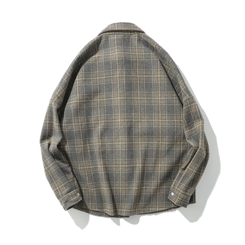 CHECK OVERSHIRT IN WOOL FLANNEL - BRICK RED/ GREY