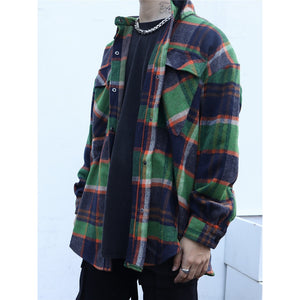 Plaid Loose Fit Flannel Shirt