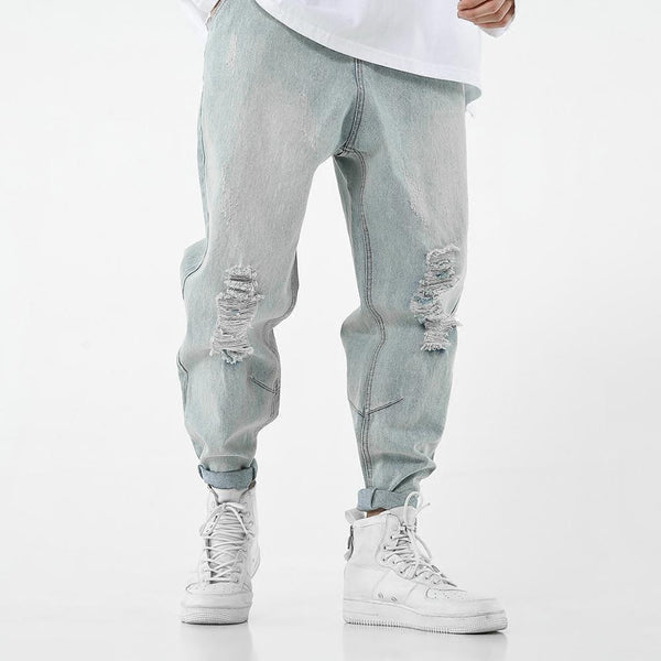 FADED CARROT LEGS RIPPED JEANS - WASHED LIGHT BLUE