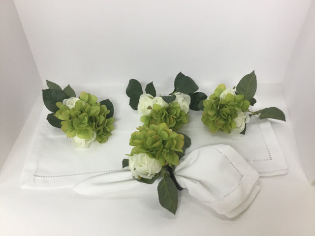New Market Item Green and White Polyester Hydrangea Napkin Ring