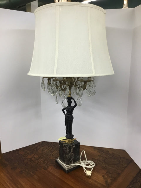 Antique 5 Arm Iron Figure with Crystals Lamp on Marble Base