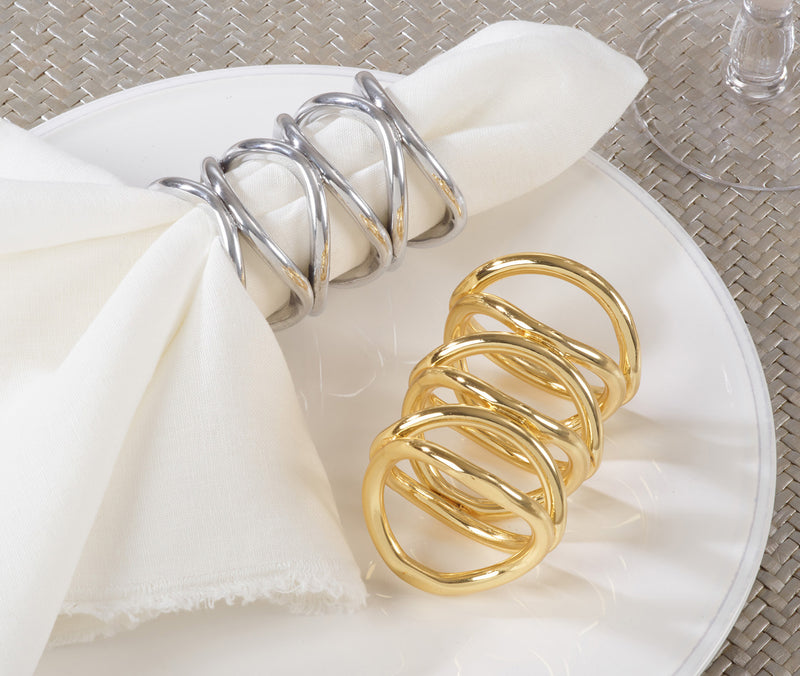 New Market Item Silver Metal Contemporary Napkin Ring