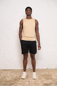 sleeveless + shorts: tan and black bundle