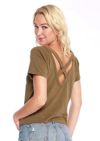 Bobi Cross Back Short-Sleeve Top