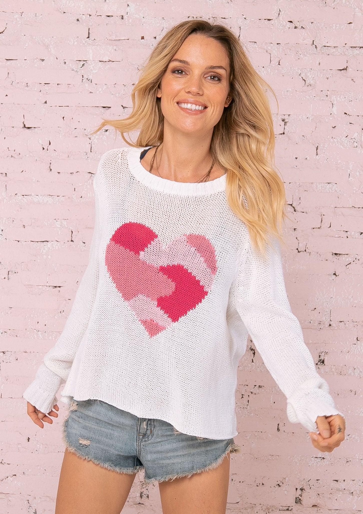 Wooden Ships Camo Heart Cotton Crew