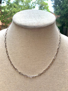Thin Silver Chain Link Necklace