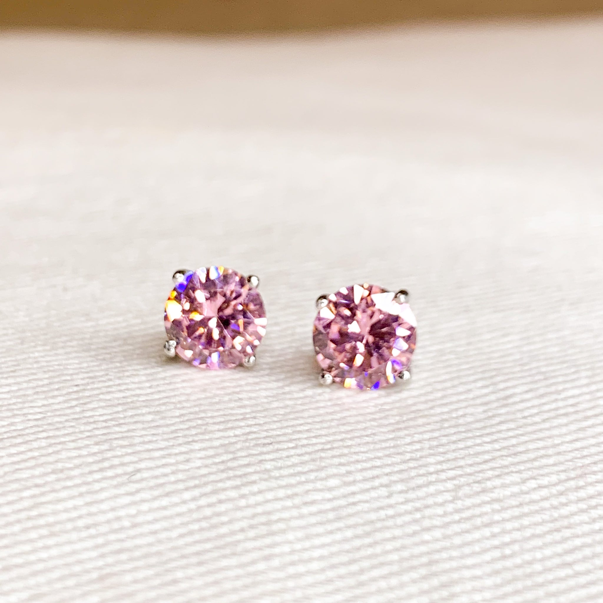 CZ Pink Solitaire Studs, Approximately 8mm