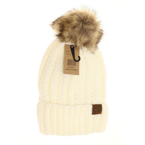 CC Pom Cable Knit Lined Hat