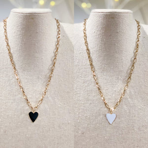 Iishii Reversible Enamel Heart Pendant Necklace